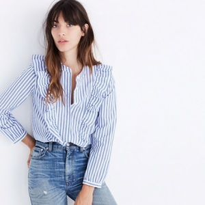 Madewell Stripe Ruffle Front Blouse